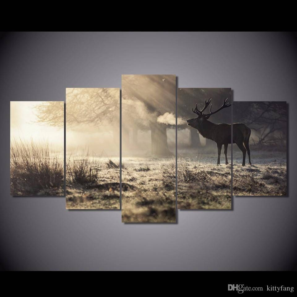 2018 Framed Hd Printed Winter Deer Animal Wall Art Canvas Print In Most Recently Released Animal Wall Art canvas (View 16 of 20)