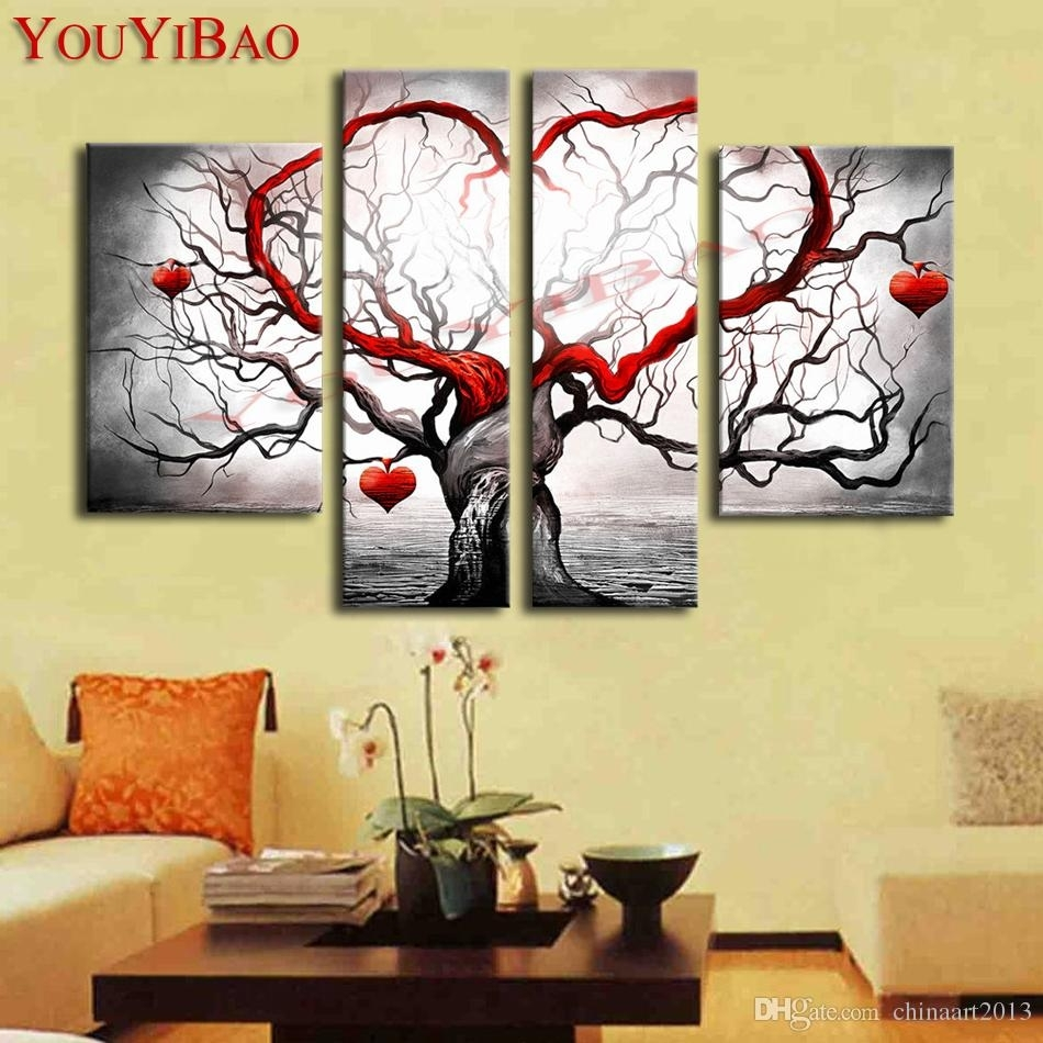 2018 Hand Painted Modern Abstract Decoration Heart Life Tree Oil Intended For Latest Abstract Heart Wall Art (View 20 of 20)