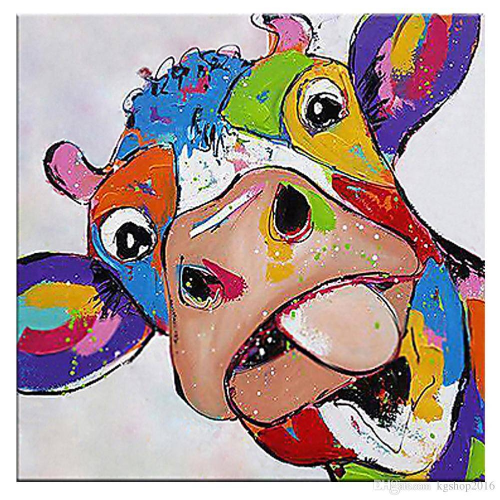2018 Kagree Colorful Cow Head Painting Cute Animal Paintings Funny For Most Recently Released Colorful Animal Wall Art (Gallery 3 of 20)