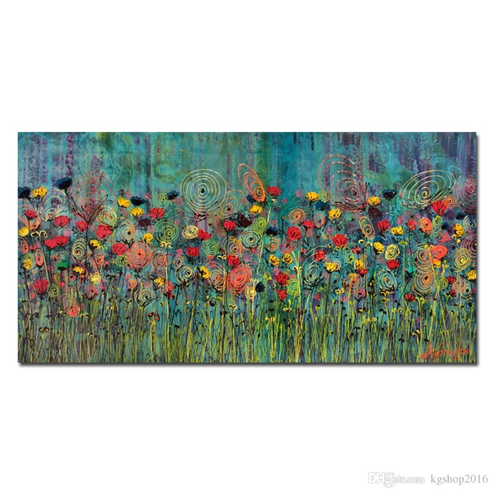 2018 Kgtech Rainbow Flower Oil Paintings Handpainted Canvas Art With Regard  To Recent Abstract Floral Wall