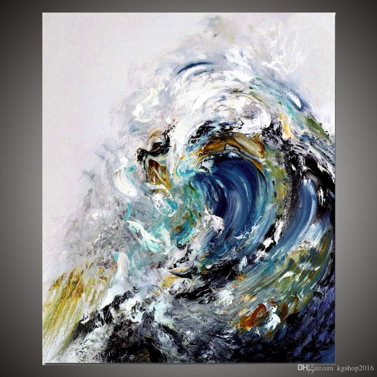 2018 Kgtech Rolling Ocean Waves Art Blue Sea Waters Painting In 2018 Abstract Ocean Wall Art (View 6 of 20)