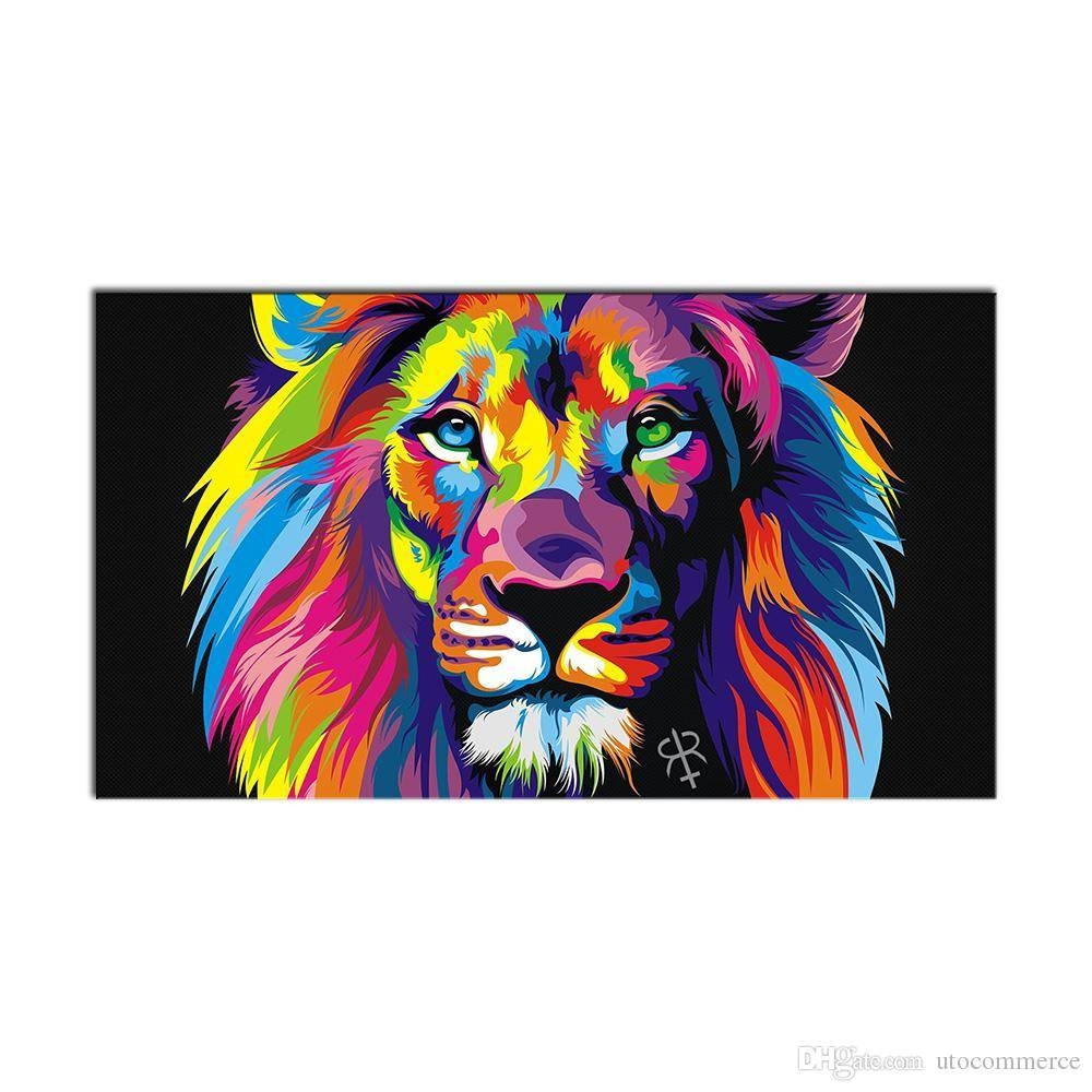 2018 Modern Wall Art Picture Colorful Animal Lion Canvas Painting Inside Current ColorfulAnimal Wall Art (Gallery 7 of 20)