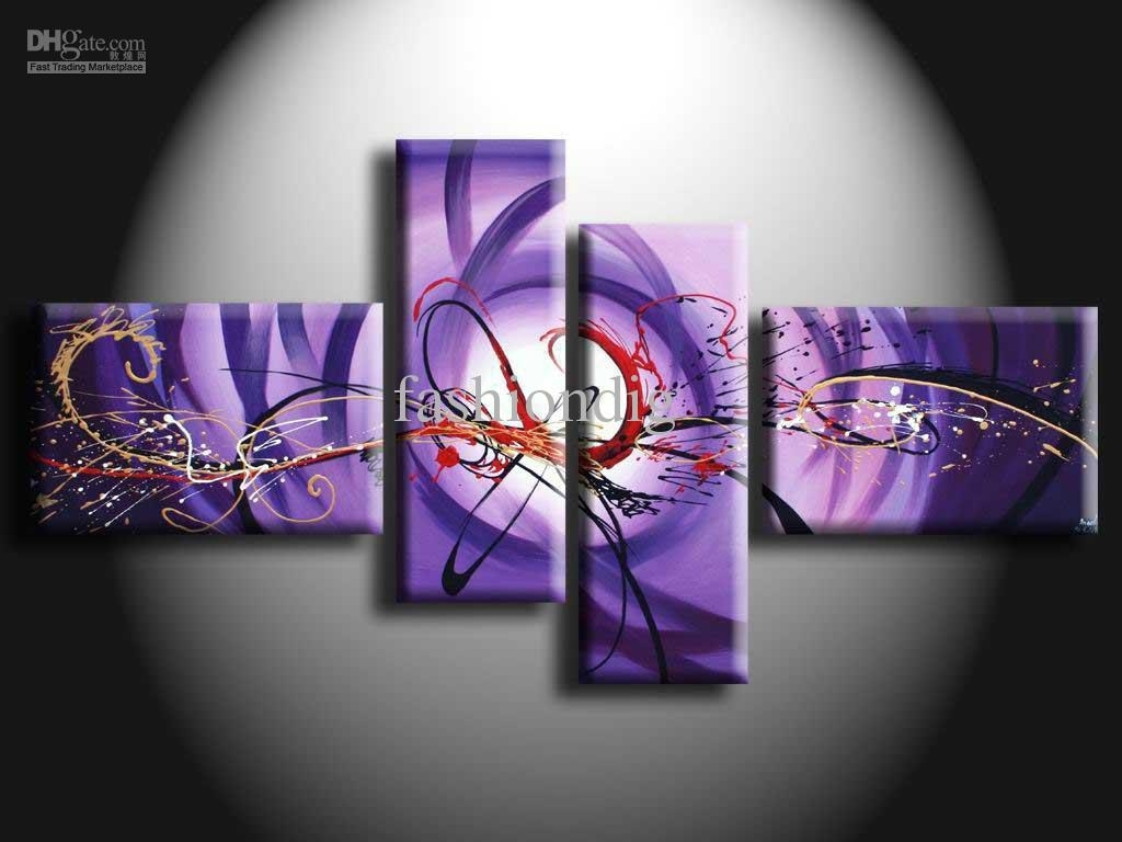 2018 Purple Oil Painting On Canvas Modern Abstract Artwork Intended For Latest Modern Abstract Oil Painting Wall Art (View 2 of 20)