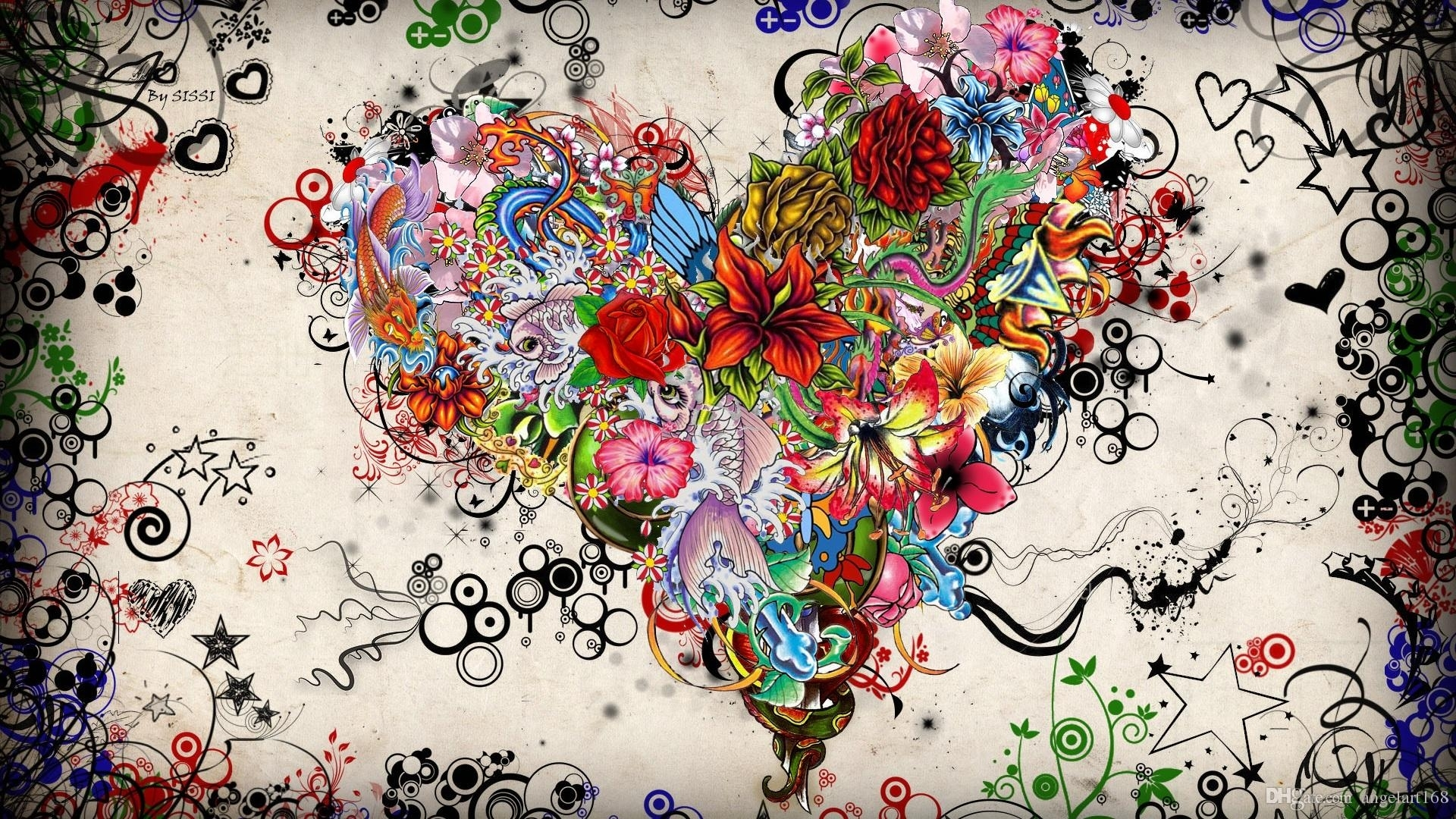 2018 Single Unframed Colourful Flower Abstract Heart Flower Pertaining To 2018 Abstract Heart Wall Art (View 2 of 20)