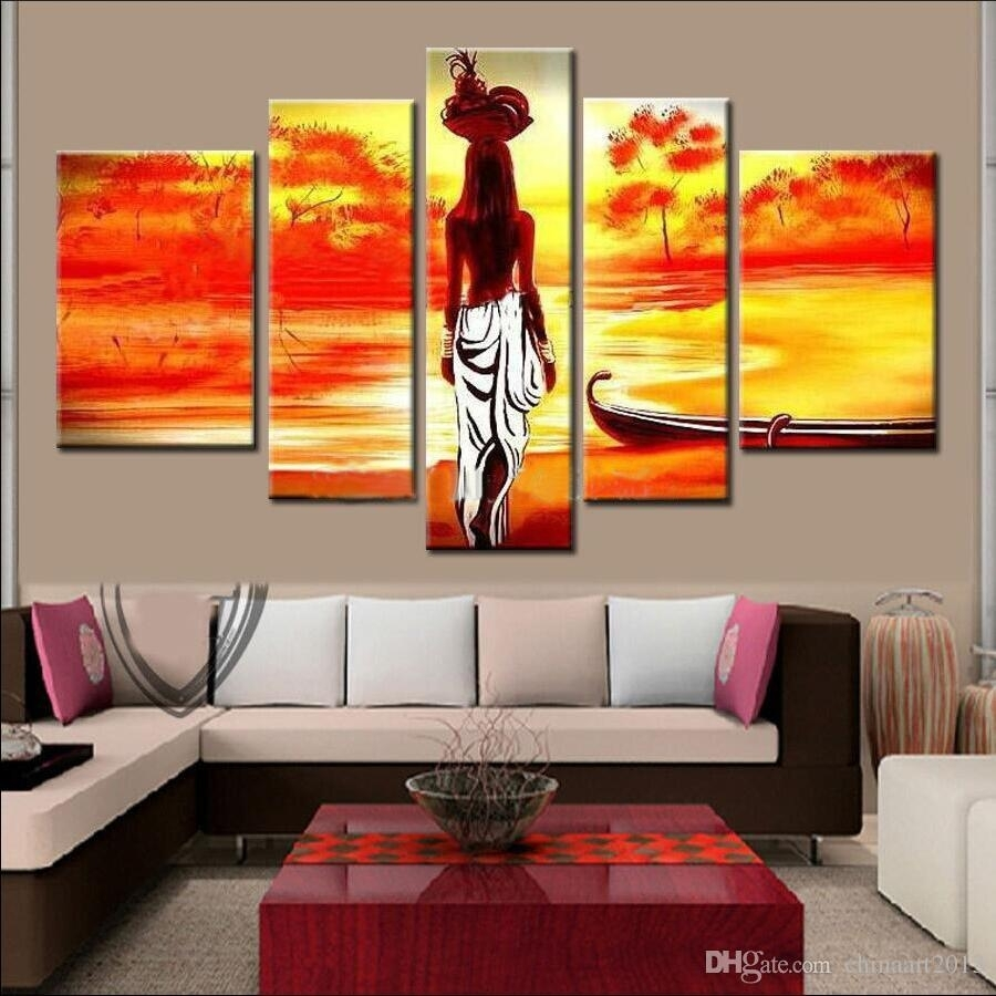 2018 Unframed Hand Painted Abstract Modern Wall Painting African With Current Abstract African Wall Art (View 2 of 20)