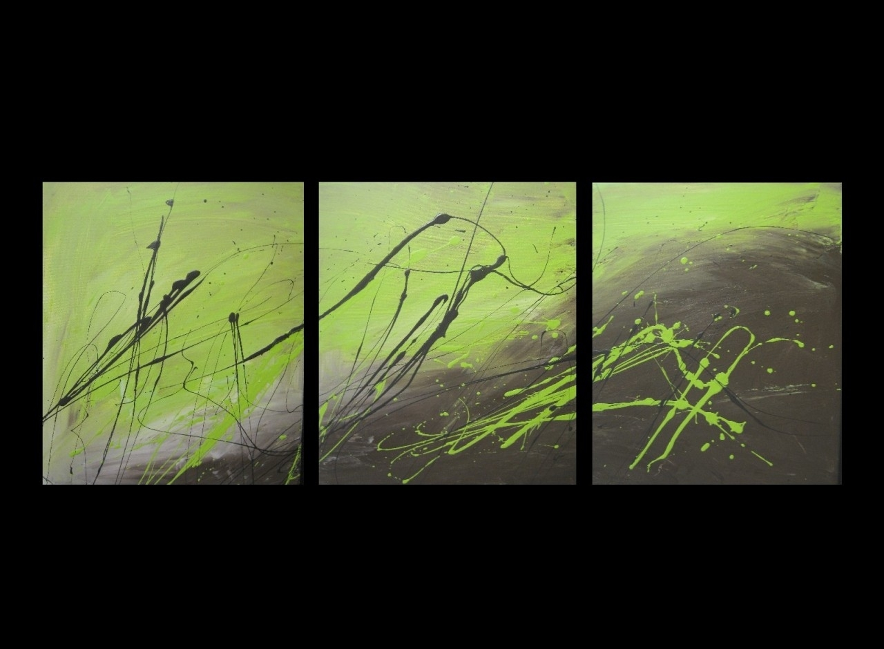 3 Abstract Canvas Painting Lime Green And Brown. Modern Wall Art Regarding Most Popular Lime Green Abstract Wall Art (Gallery 1 of 20)