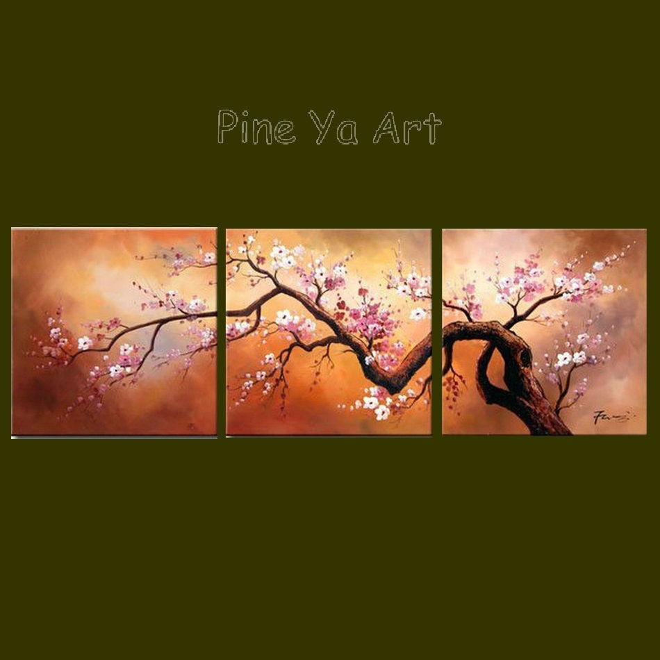 3 Panel Abstract Modern Canvas Wall Art Pink Cherry Blossom Inside Most Up To Date Cherry Blossom Oil Painting Modern Abstract Wall Art (View 12 of 20)