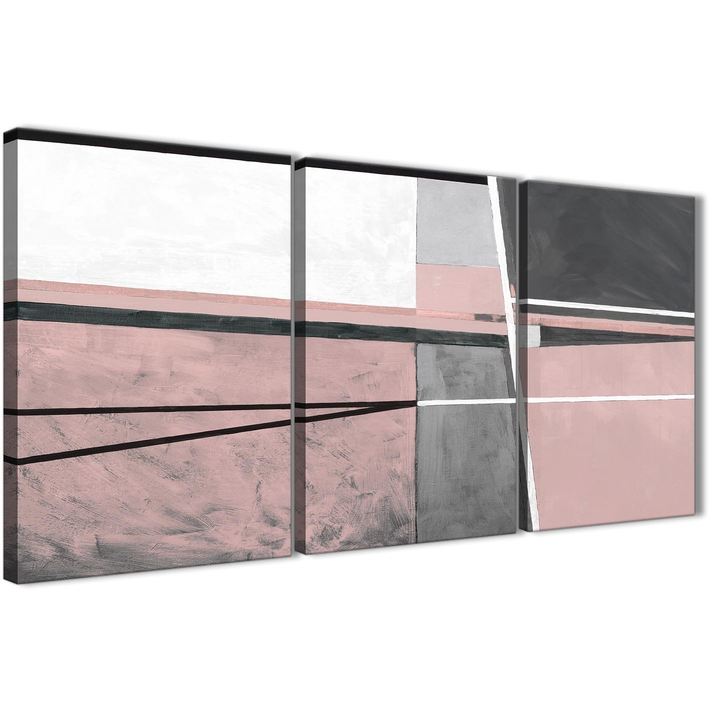 3 Panel Blush Pink Grey Painting Kitchen Canvas Wall Art pertaining to 2018 Grey Abstract Canvas Wall Art
