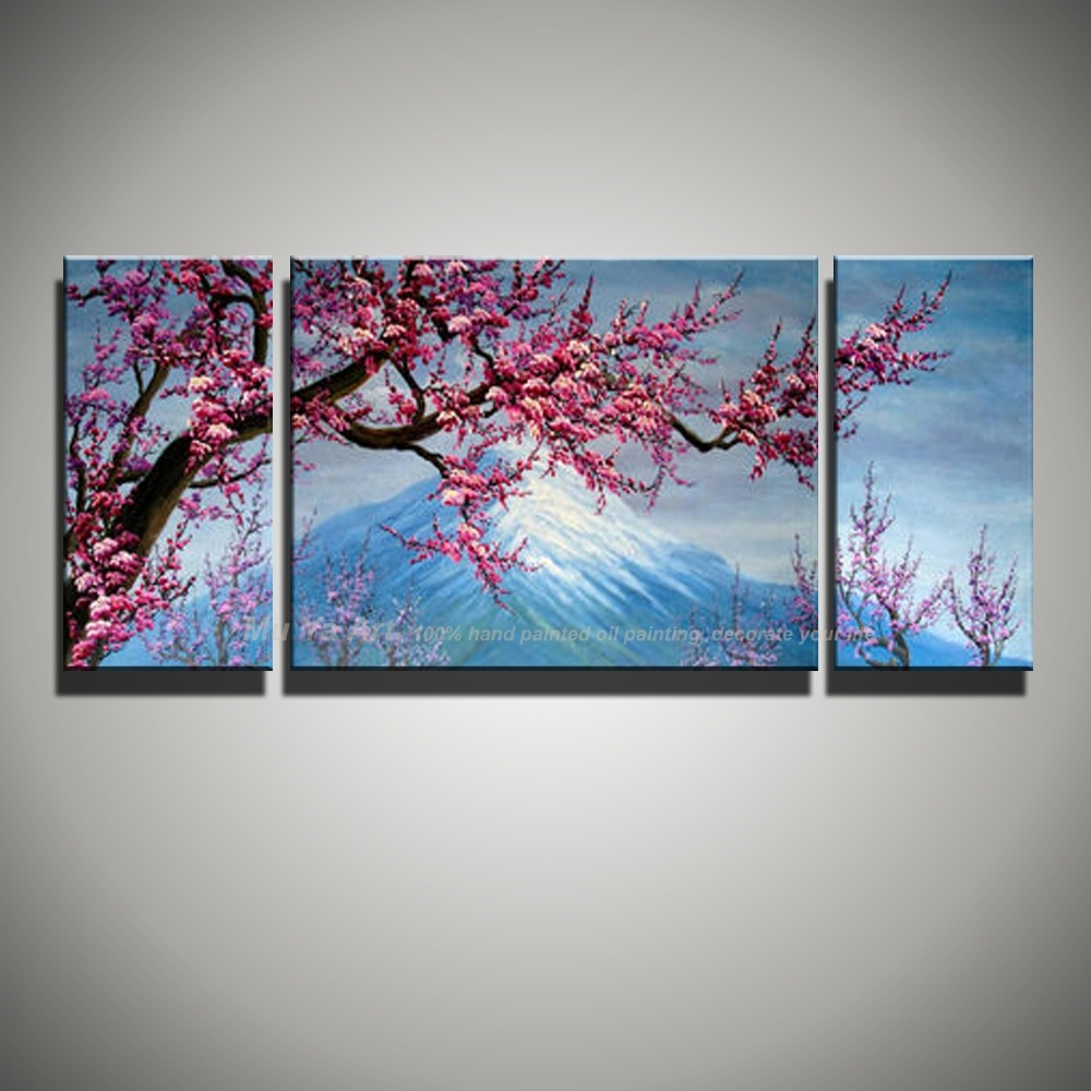 3 Panel Canvas Wall Art Abstract Pink Cherry Blossom Mount Fuji in Most Up-to-Date Abstract Cherry Blossom Wall Art