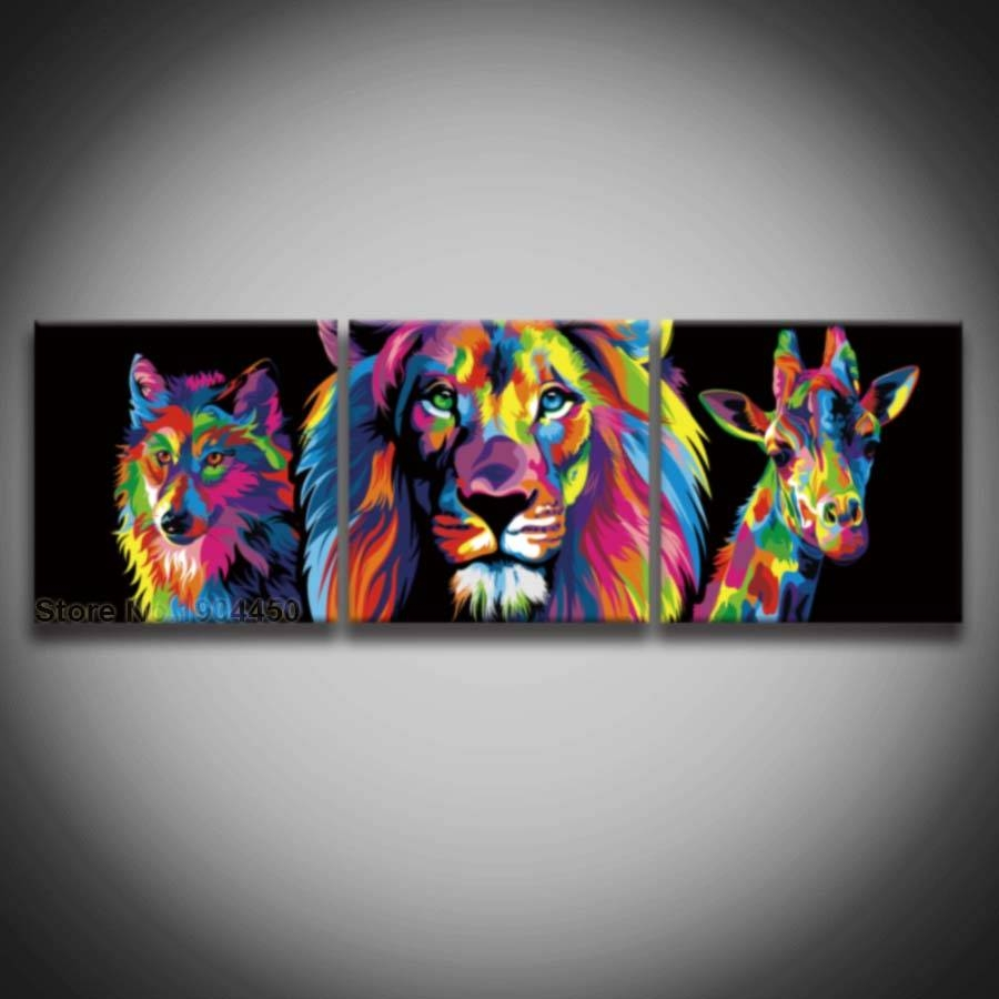 3 Panel Printed Colorful Male Lion Wolf Giraffe Animal Picture For Most Current Colorful Animal Wall Art (Gallery 12 of 20)
