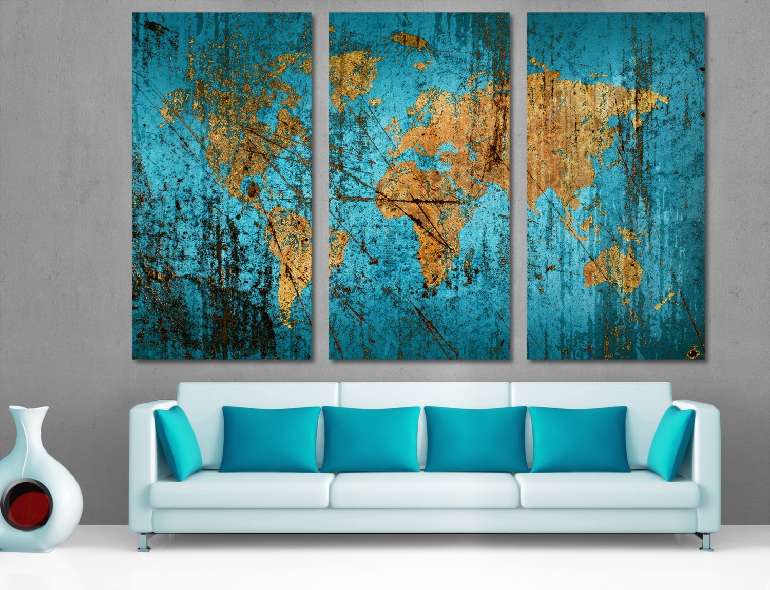 3 Panel Split Canvas Dark Blue World Map Wall Art Canvas (View 4 of 20)