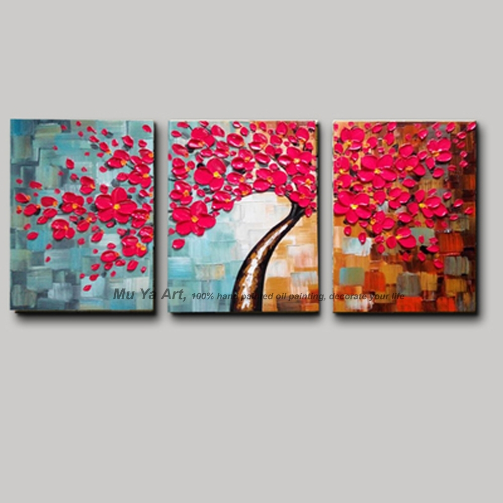 3 Panel Wall Art Canvas Tree Acrylic Decorative Pictures Hand In Newest Cherry Blossom Oil Painting Modern Abstract Wall Art (View 2 of 20)