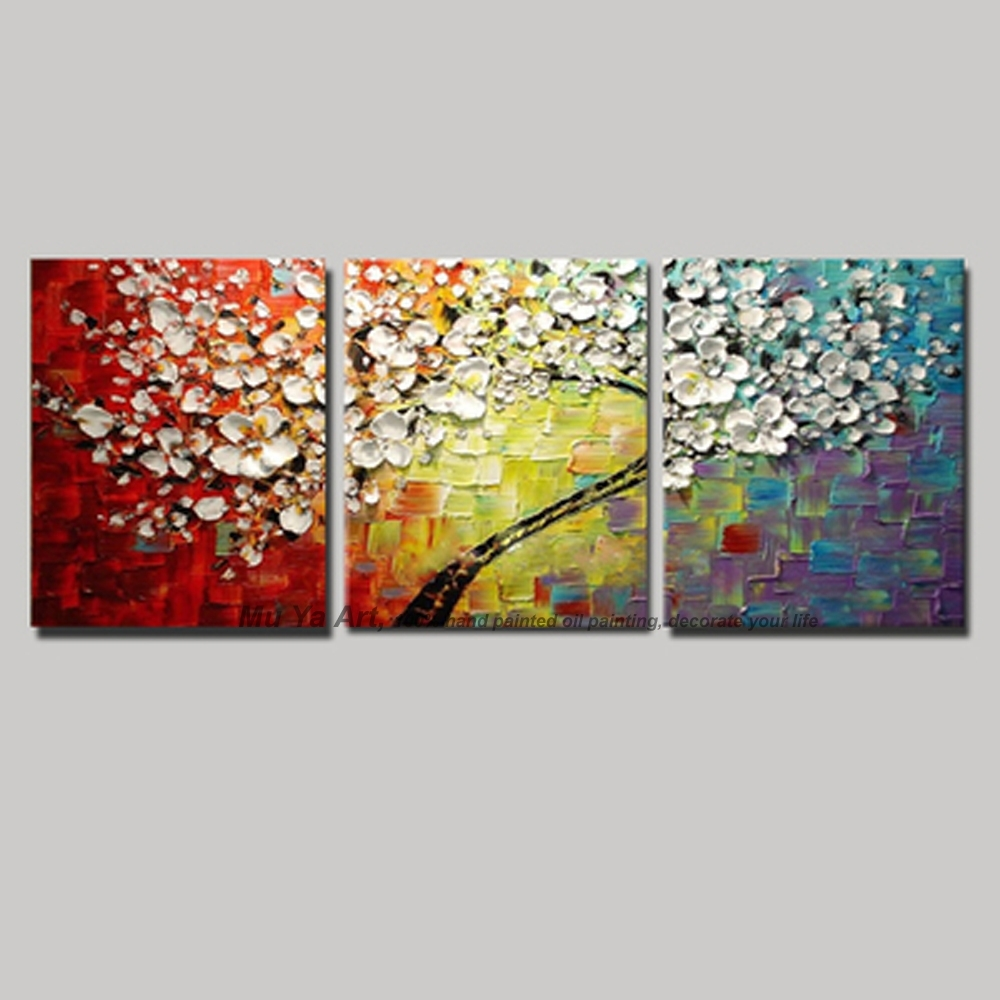 3 Panel Wall Art Canvas Tree Acrylic Decorative Pictures Hand Within Newest Cherry Blossom Oil Painting Modern Abstract Wall Art (View 14 of 20)