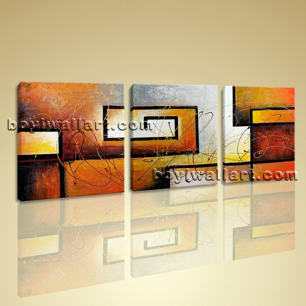 3 Pc Modern Abstract Canvas Wall Art Giclee Print Contemporary Regarding Current Large Framed Abstract Wall Art (View 4 of 20)