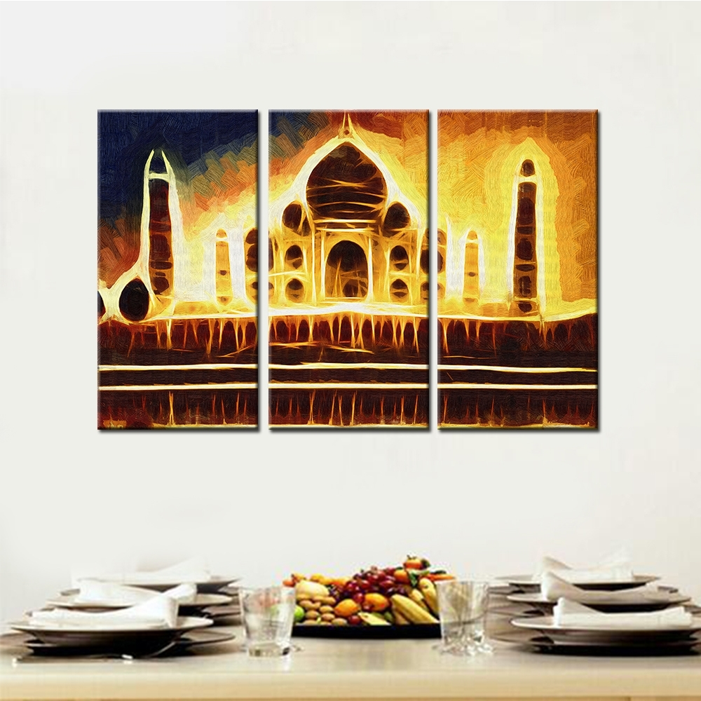 3 Pcs/set No Framed Abstract India Taj Mahal Palace Wall Art Within Current India Abstract Wall Art (View 1 of 20)