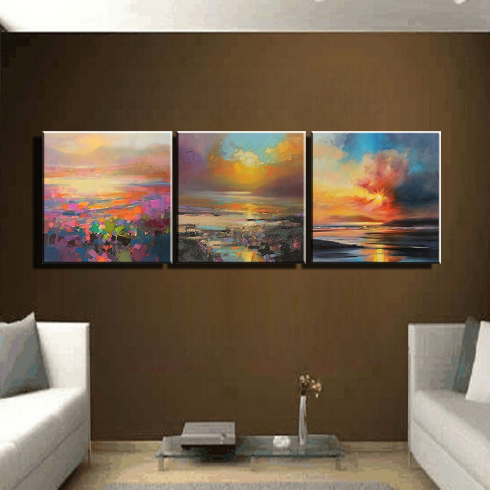 3 Piece Abstract Wall Art Canvas Sunset Beach Prints Modern Wall Within Most Current Abstract Canvas Wall Art Iii (View 10 of 20)