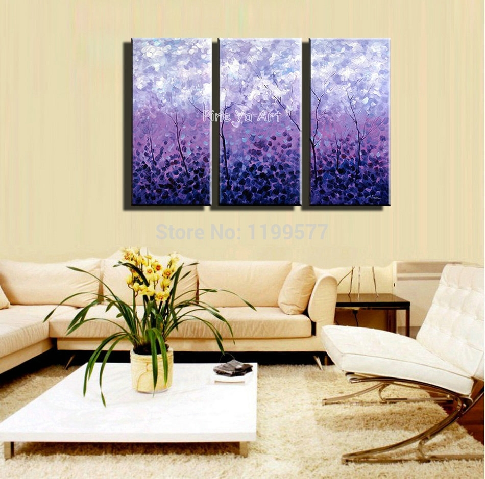 3 Piece Acrylic Tree Purple Abstract Modern Wall Art Handpainted Regarding Most Popular Abstract Wall Art For Bedroom (View 2 of 21)