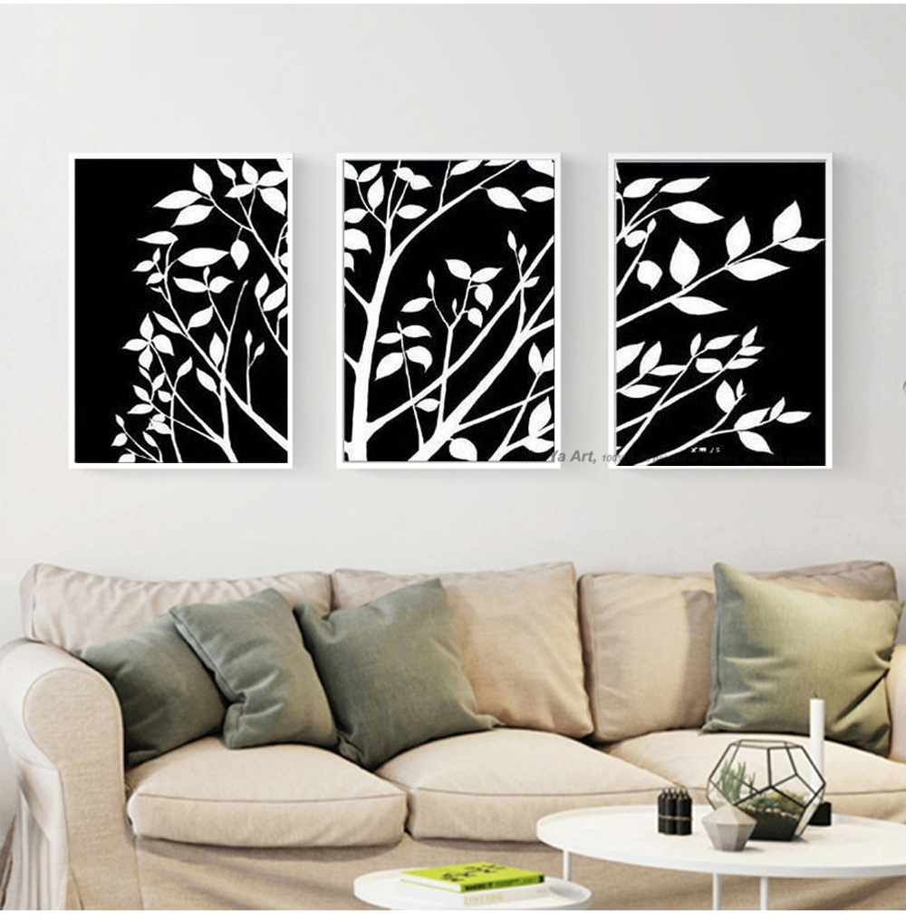 3 Piece Black White Pinturas Al Oleo Canvas Wall Art Modern in Most Recent Black And White Abstract Wall Art