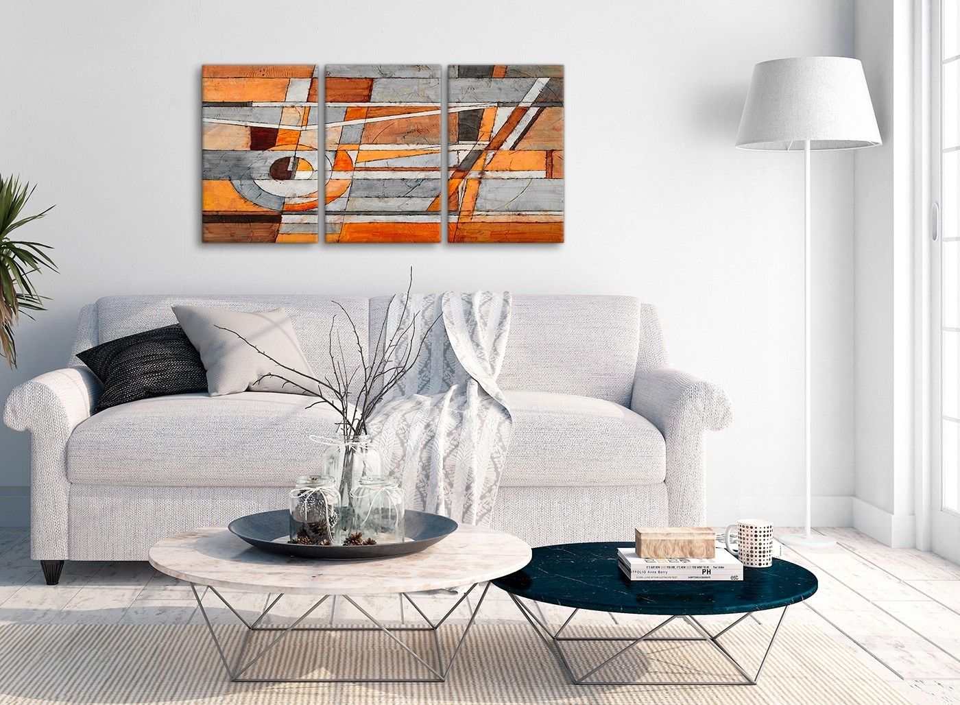3 Piece Burnt Orange Grey Painting Office Canvas Wall Art Decor For Most Up To Date Grey Abstract Canvas Wall Art (View 2 of 20)