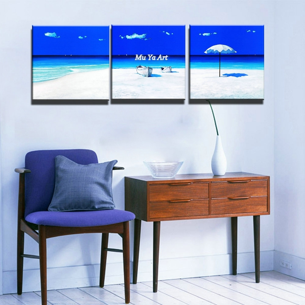 3 Piece Modern Blue Seascape Canvas Prints Abstract Beach Wall Art With Most Recently Released Abstract Beach Wall Art (View 3 of 20)
