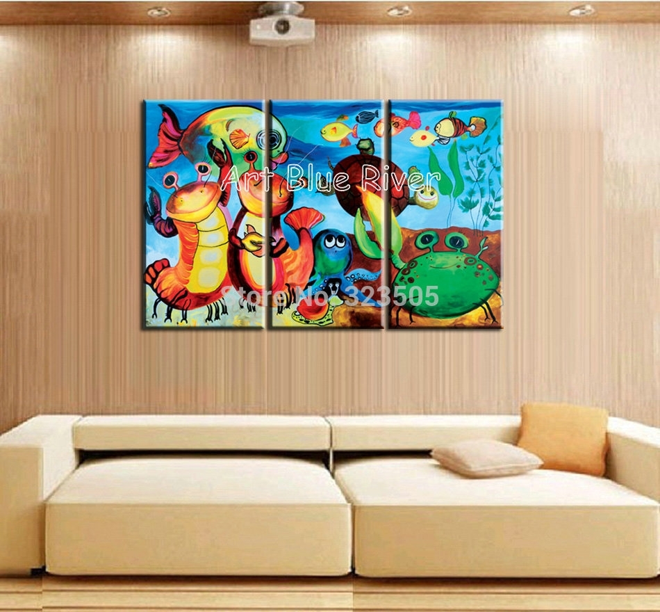3 Piece Modern Canvas Art Handmade Colorful Cartoon Sea Fish Oil Pertaining To Newest Vincent Van Gogh Multi Piece Wall Art (View 1 of 20)