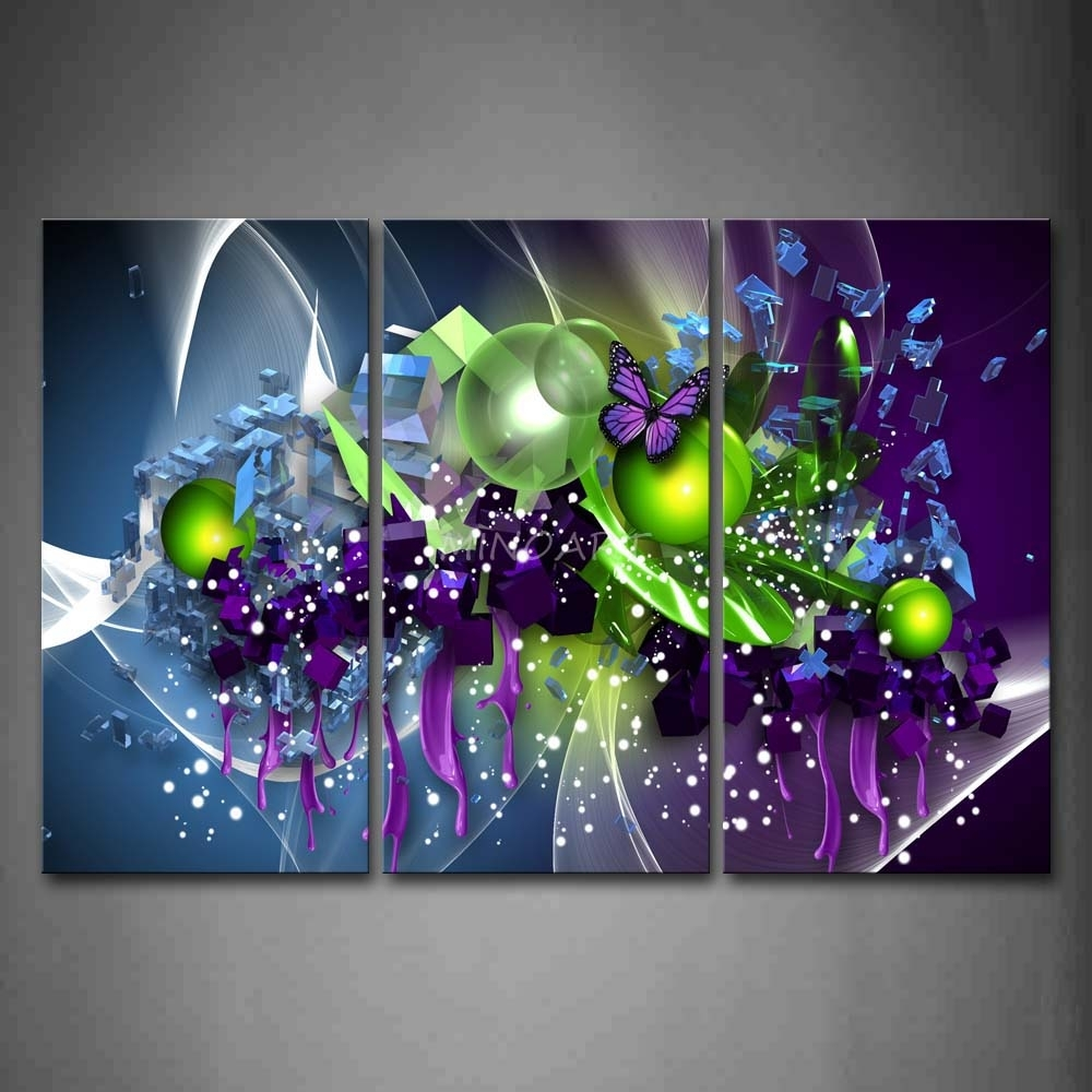 3 Piece Wall Art Painting Artistic Purple Butterfly Green Ball Pertaining To Most Current Purple And Grey Abstract Wall Art (View 2 of 20)