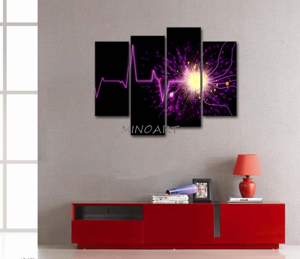3 Piece Wall Art Painting Artistic Purple Wave Light Black Inside Most Recently Released Dark Purple Abstract Wall Art (Gallery 12 of 20)