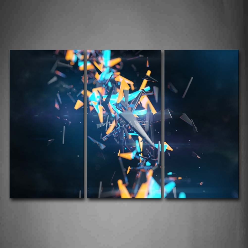 3 Piece Wall Art Painting Cool Abstract Orange And Blue Grey With Regard To Most Popular Abstract Orange Wall Art (Gallery 11 of 20)
