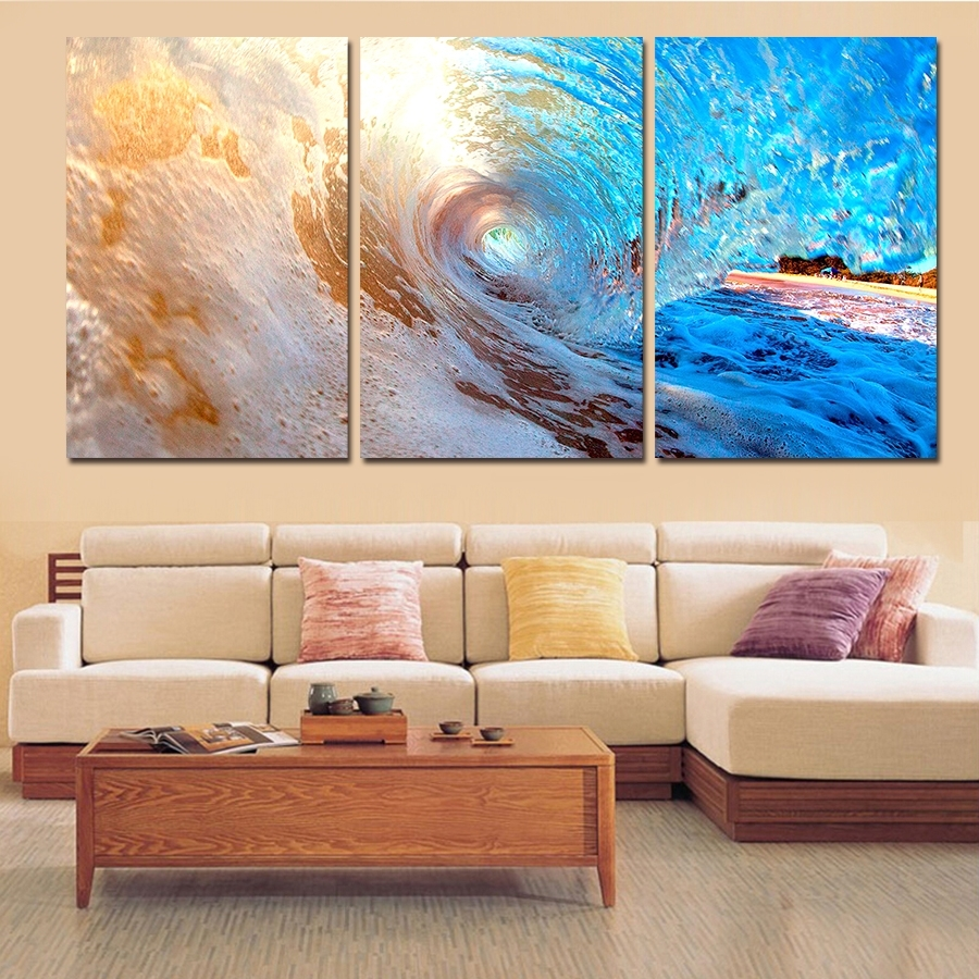 3 Plane Abstract Sea Wave Modern Home Decor Wall Art Canvas Blue With Newest Affordable Abstract Wall Art (Gallery 2 of 20)