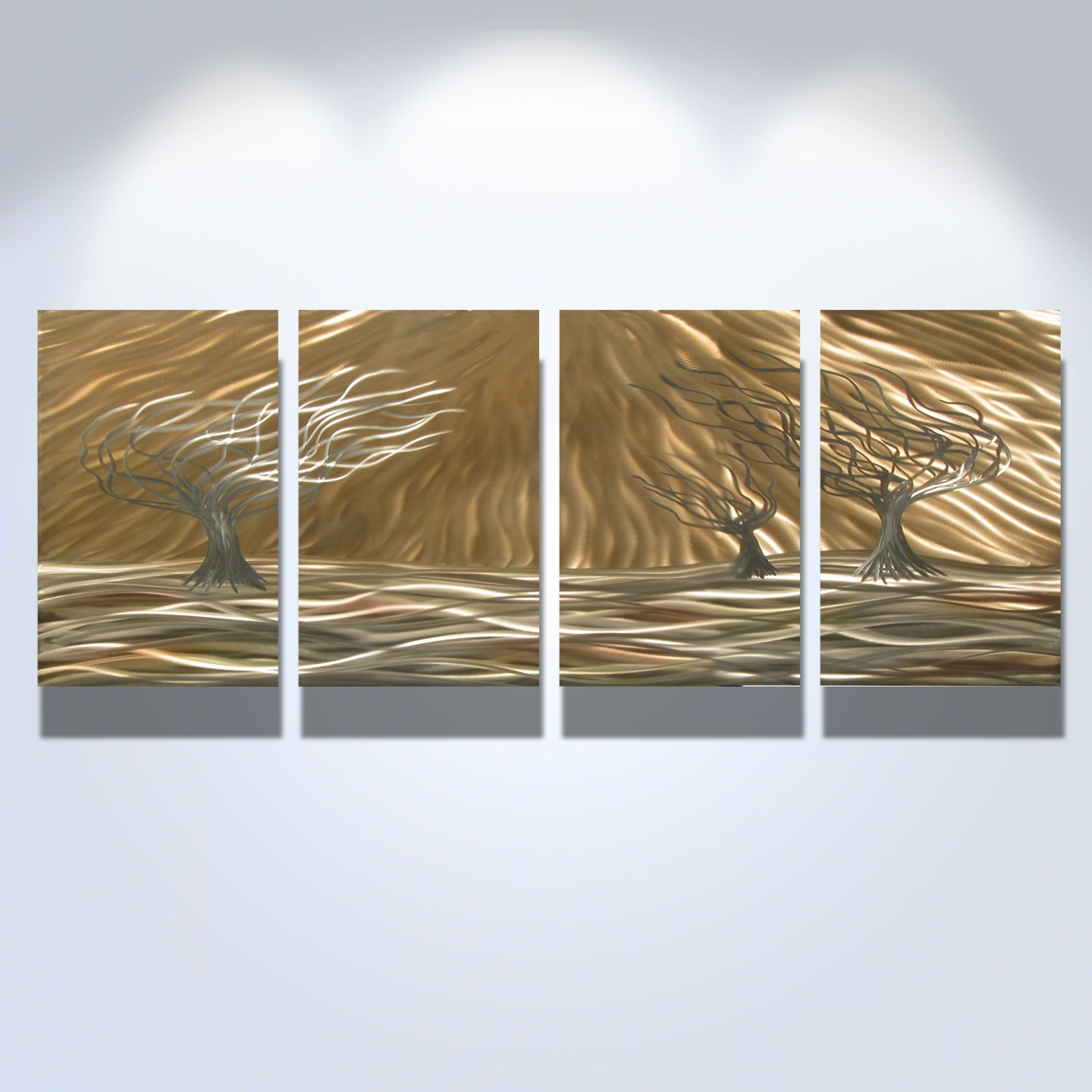 3 Trees 4 Panel – Abstract Metal Wall Art Contemporary Modern Pertaining To Best And Newest Abstract Metal Wall Art Panels (View 4 of 20)