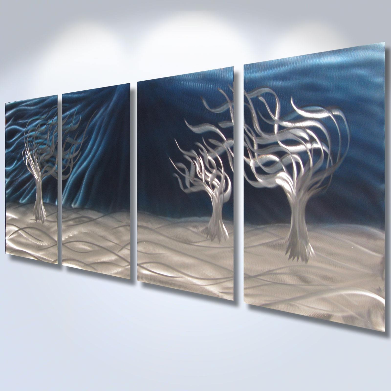 3 Trees Blue – Abstract Metal Wall Art Contemporary Modern Decor Within 2018 Abstract Metal Wall Art With Clock (View 2 of 20)