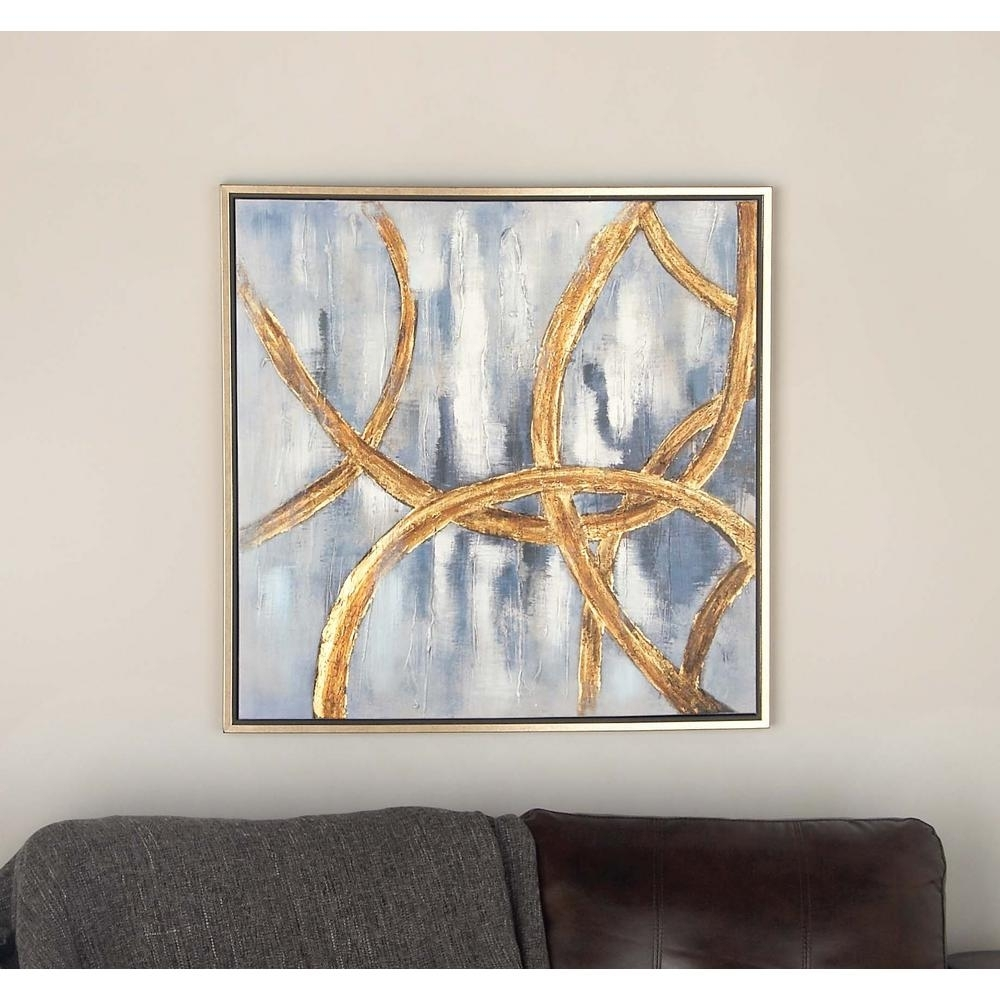 32 In. X 32 In. Abstract Linked Circles Framed Hand Painted Canvas Within Most Recent Abstract Circles Wall Art (Gallery 11 of 20)
