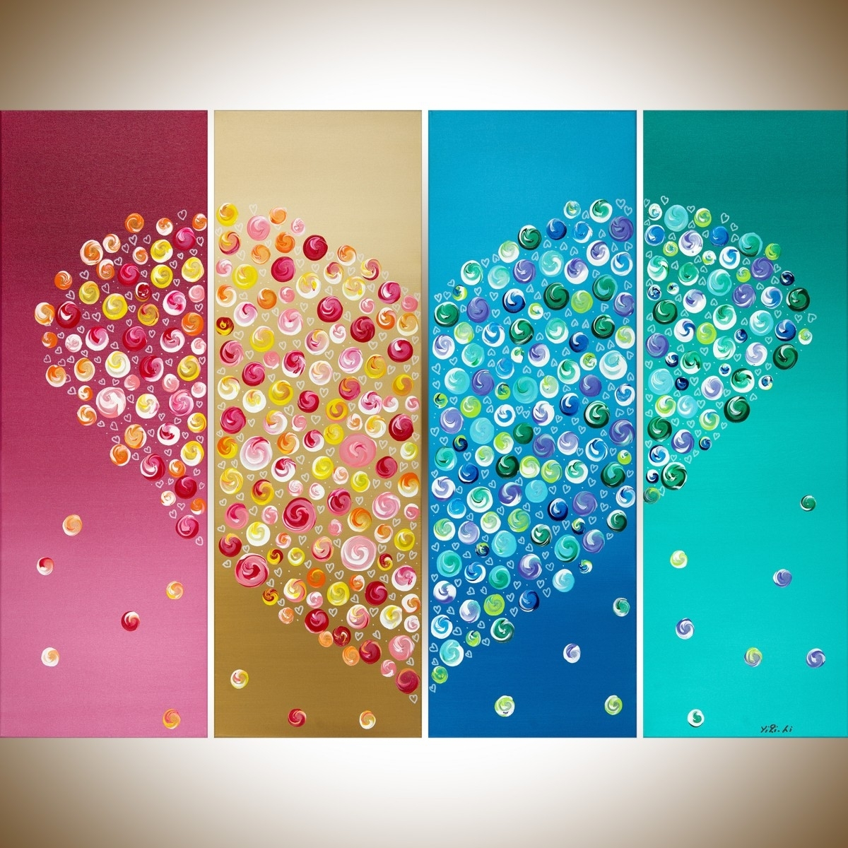 "365 Days Of Loveqiqigallery 40"" X 30"" Colorful Abstract Heart With Most Recent Colourful Abstract Wall Art (View 5 of 20)"