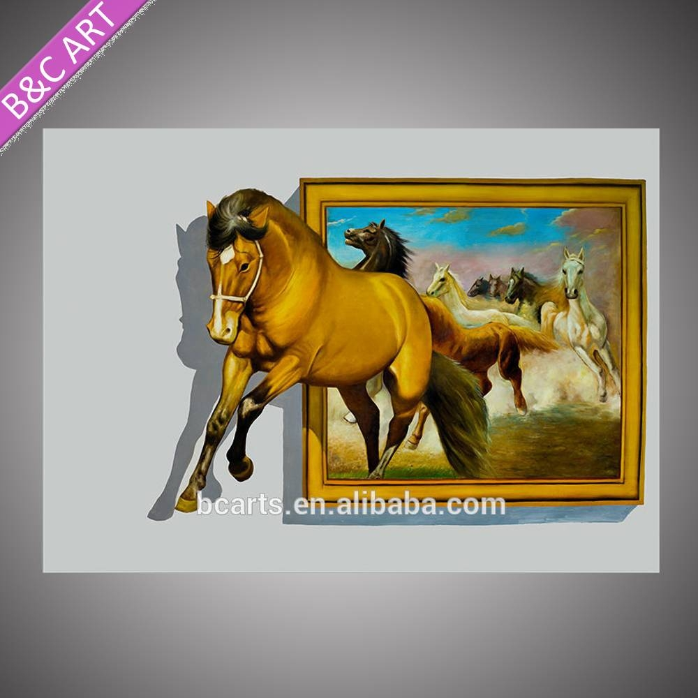 3d Animal Pictures Running Horse Printing 3d Wall Art Canvas With Latest 3d animal Wall Art (View 8 of 20)