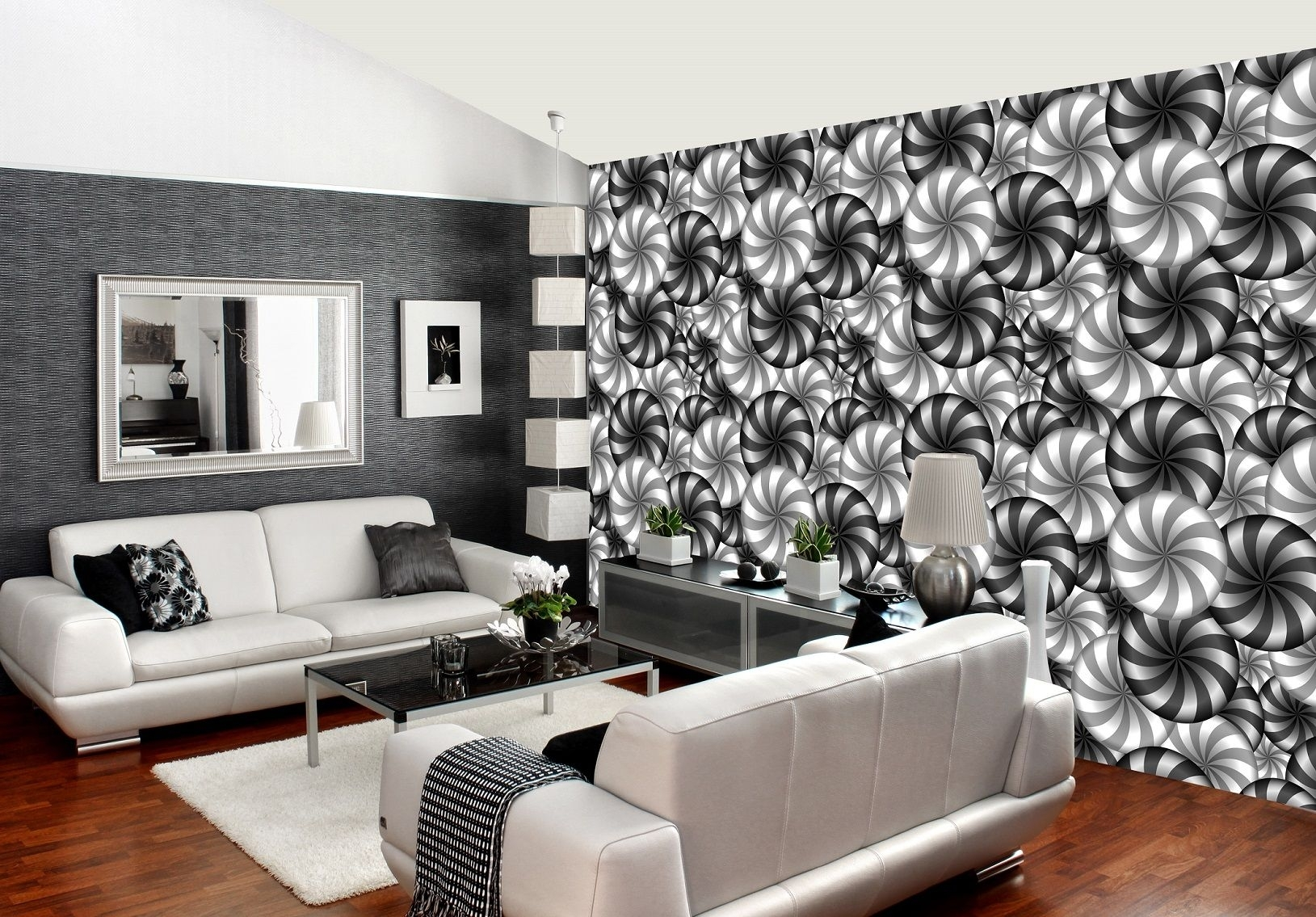 3D Illusion Optical B&w Abstract Art Decor Wall Mural Photo Inside 2017 Abstract Art Wall Murals (View 2 of 20)