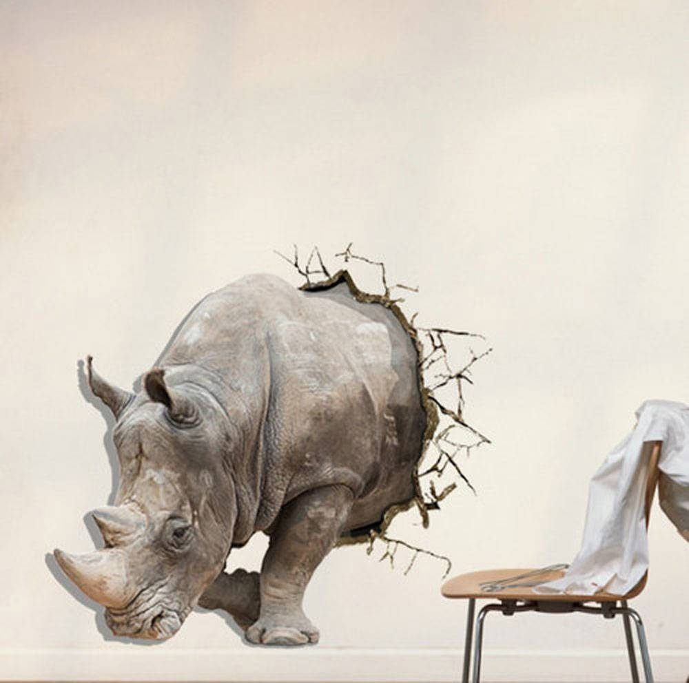 3D Rhinoceros Paint Wall Sculpture Pvc Self Adhesive Wall Art In Recent 3D Animal Wall Art (Gallery 10 of 20)