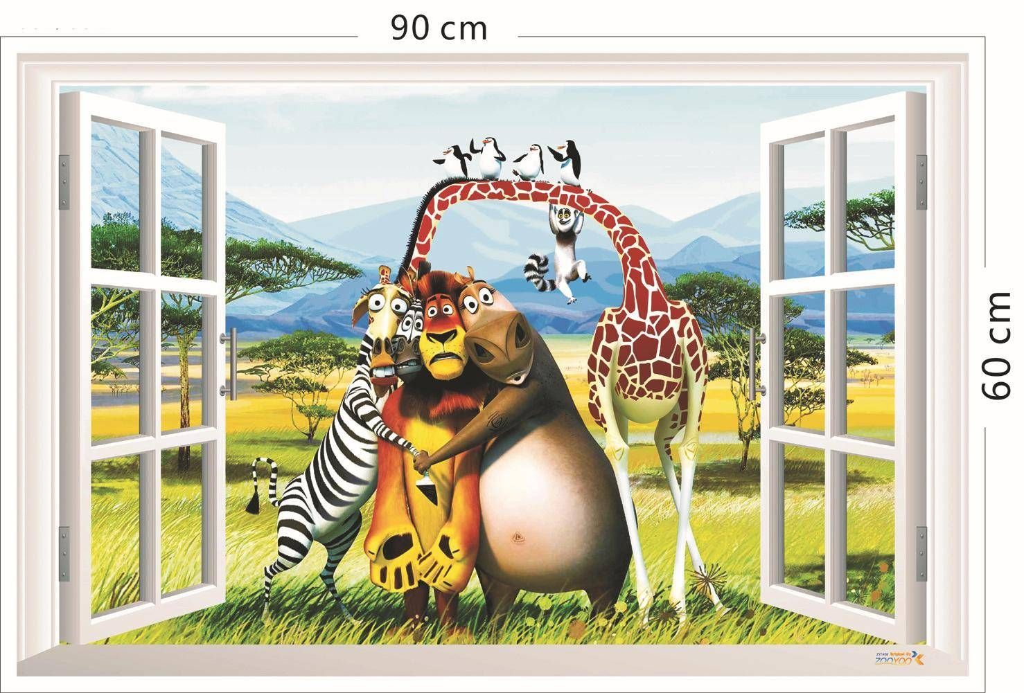3D Window View Animals Forest Wall Art Mural Decal Sticker Cartoon For Most Up To Date 3D Animal Wall Art (Gallery 2 of 20)