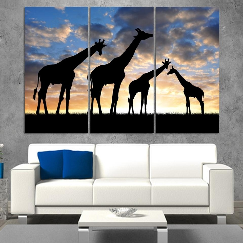 3pcs /set Abstract African Landscape Animal Giraffe Wall Art Inside Latest Abstract African Wall Art (View 9 of 20)