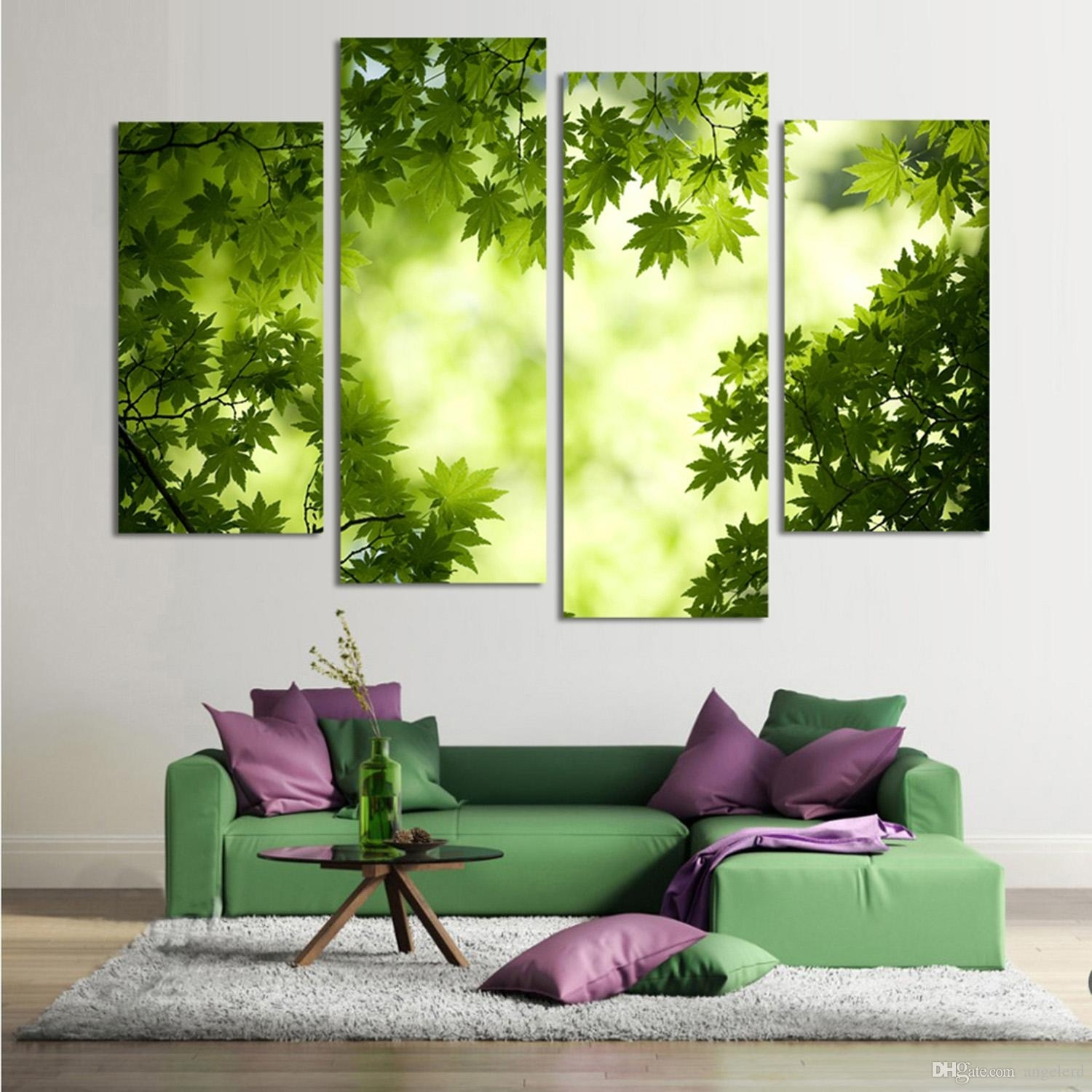 4 Panel Abstract Printed Stil Life Green Leaf Painting Canvas Art Throughout 2018 Abstract Leaves Wall Art (View 3 of 20)