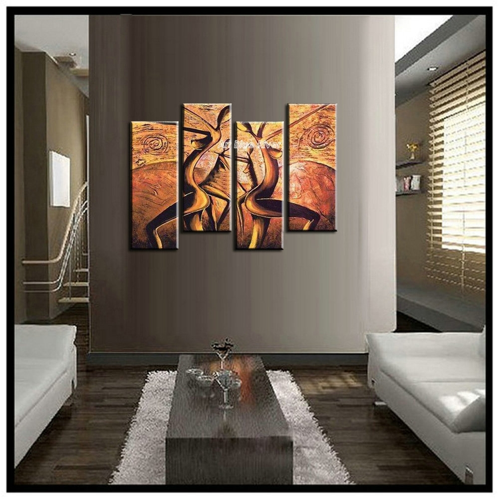 4 Panel Canvas Art Modern Abstract Wall Decor Painting Canvas With Regard  To Latest Abstract African