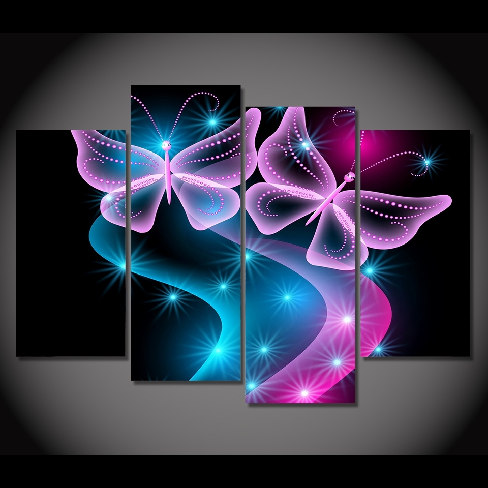 4 Panel Canvas Painting Canvas Art Butterflies Neon Light Hd With Most Current Abstract Neon Wall Art (Gallery 1 of 20)