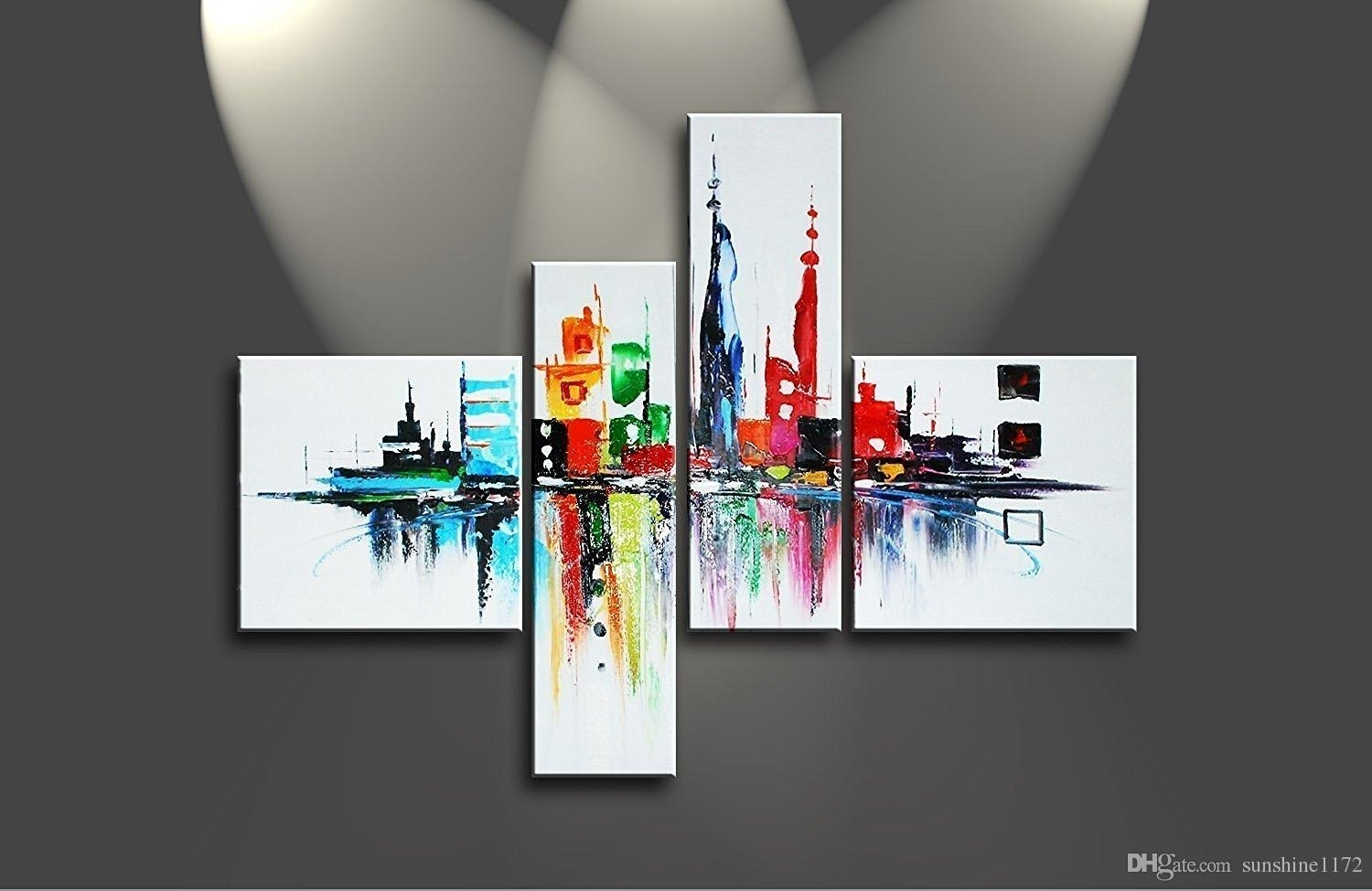 4 Panel Modern Abstract Art Framed Handmade Cityscape Oil Painting Inside Recent Abstract Art Wall Hangings (View 1 of 20)