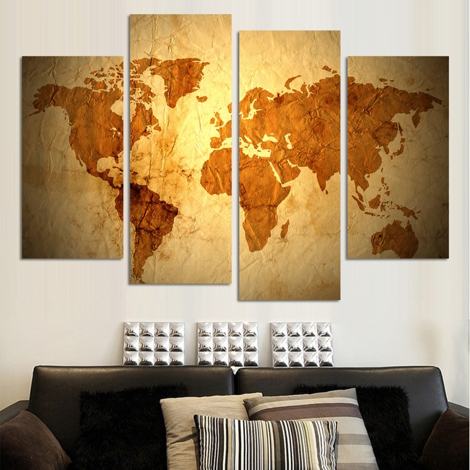 4 Panels Antique Golden Map Cnavas Painting Abstract Wall Art With Regard To Recent Abstract Wall Art Living Room (Gallery 20 of 20)