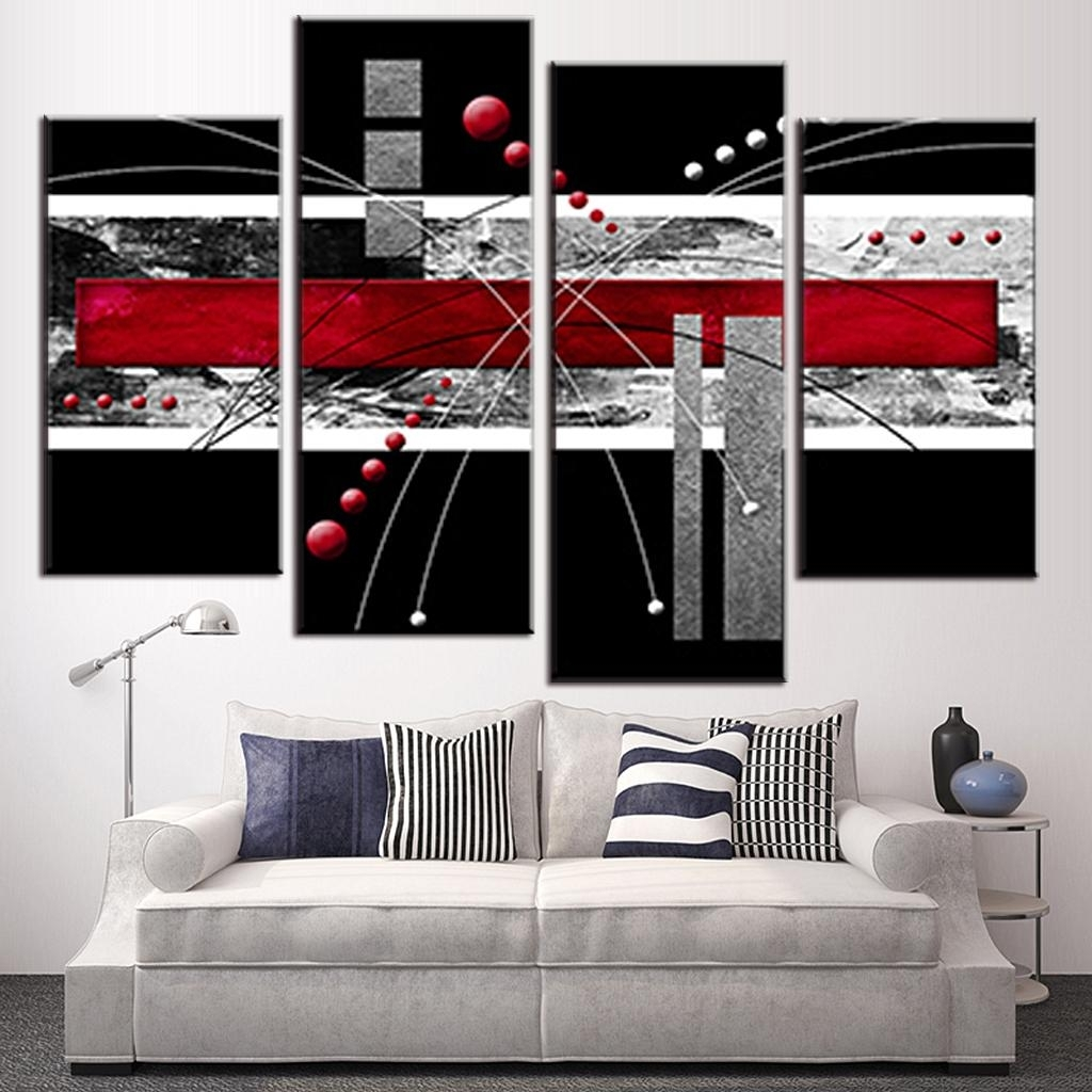 4 Pcs/set Canvas Wall Art Picture Red Black Grey Combined Canvas Regarding 2018 Gray Abstract Wall Art (Gallery 19 of 20)