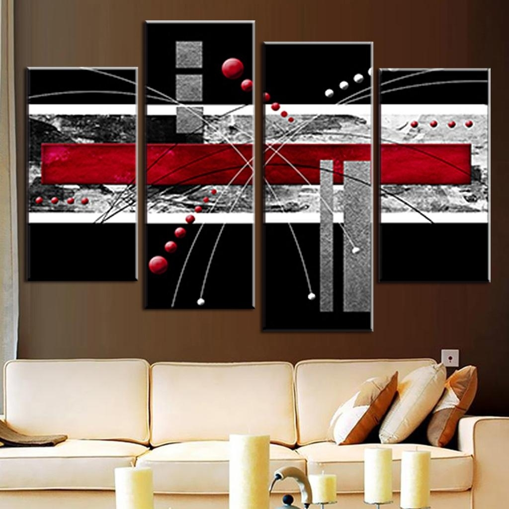 4 Pcs/set Canvas Wall Art Picture Red Black Grey Combined Canvas Regarding Recent Grey Abstract Canvas Wall Art (View 7 of 20)