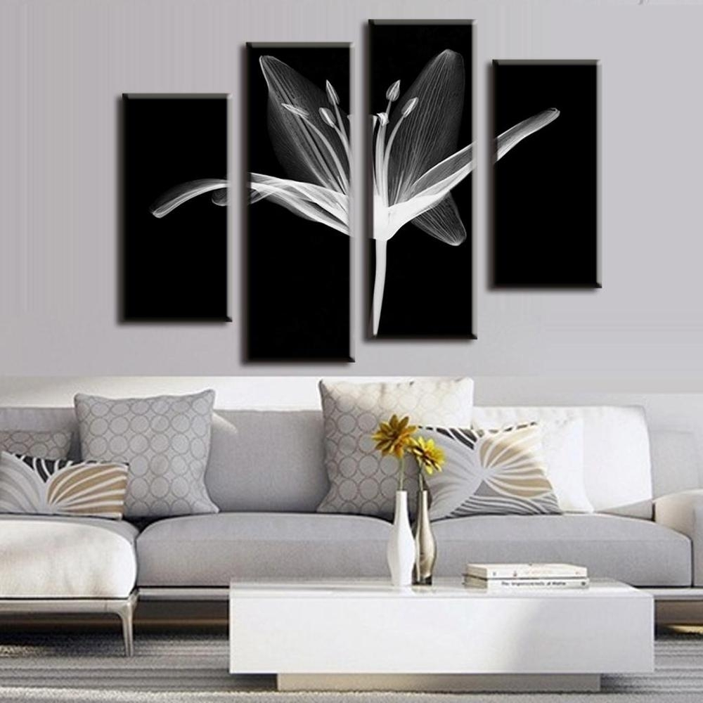 4 Pcs/set Combined Modern Wall Paintings Abstract Canvas Wall Art Throughout Most Recently Released Aluminum Abstract Wall Art (Gallery 18 of 20)