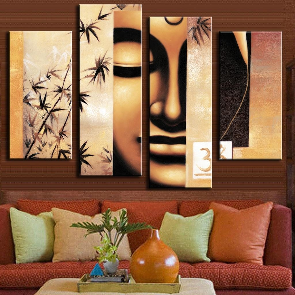 4 Pcs/set Retro Figure Painting Prints On Canvas Holy Abstract Pertaining To Most Recent Abstract Buddha Wall Art (Gallery 12 of 20)