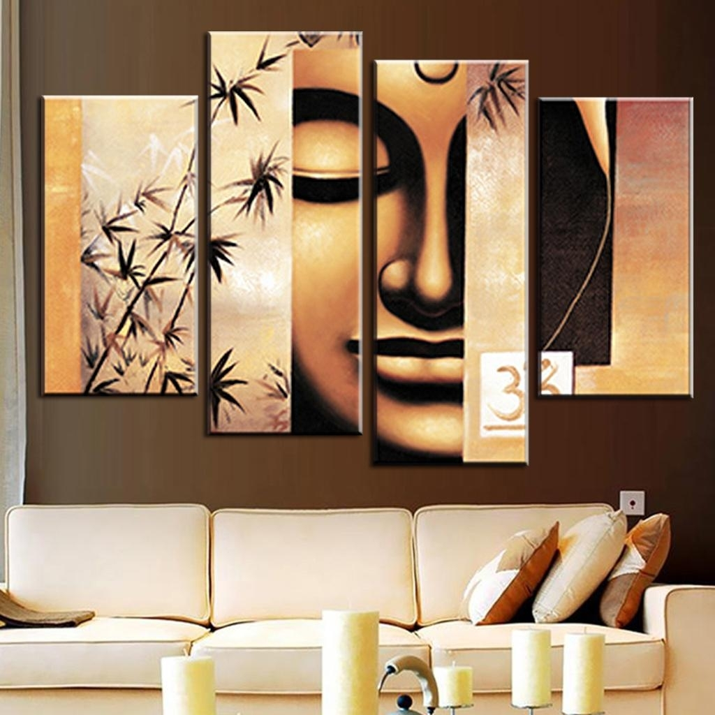4 Pcs/set Still Life Buddha Canvas Print Painting Retro Classical Intended For Best And Newest Abstract Buddha Wall Art (View 4 of 20)
