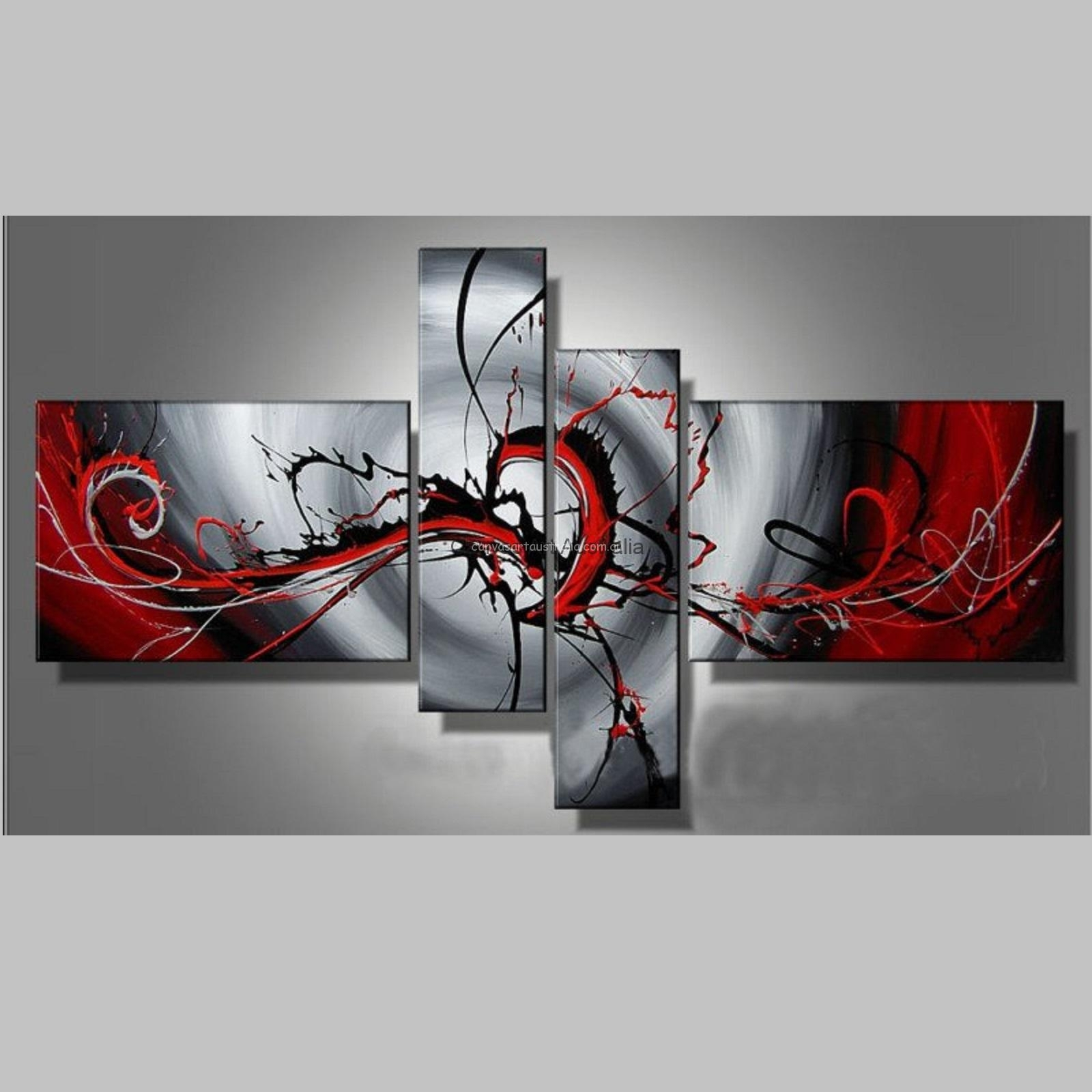 4 Piece Set  Colour Of Passion Modern Abstract – Canvas Art Australia With Most Recently Released Australian Abstract Wall Art (Gallery 15 of 20)