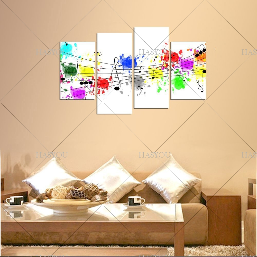 4 Pieces Still Life Pictures Handpainted Canvas Abstract Music Intended For Best And Newest Abstract Music Wall Art (View 3 of 20)